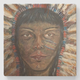 Sandstone Coaster Native American Indian