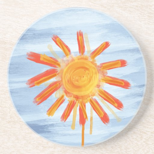 Sandstone Coaster, Sunshine Watercolor Drink Coaster