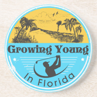 """Sandstone coaster with """"Growing Young in Florida"""""""