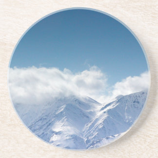 Sandstone coaster with photo of snowy mountaintop
