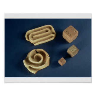 Sandstone dice and terracotta maze game, Harappa, Poster