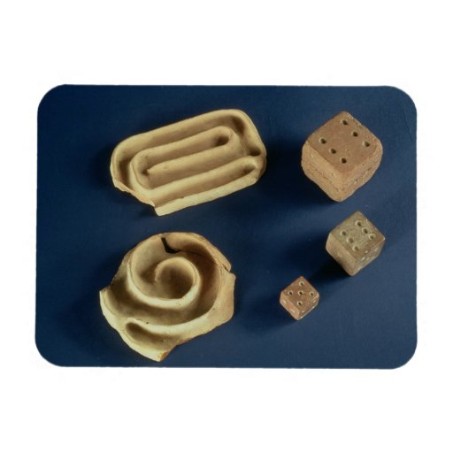Sandstone dice and terracotta maze game, Harappa, Flexible Magnet