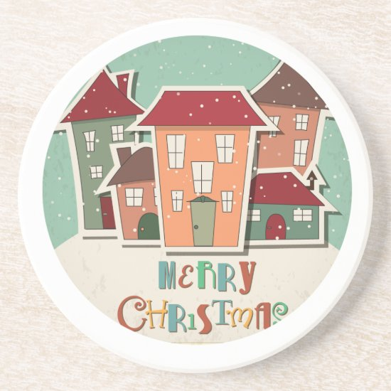 Sandstone Drink Coaster, Retro Christmas Design Coaster