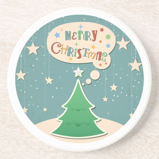 Sandstone Drink Coaster, Retro Christmas Design Drink Coaster