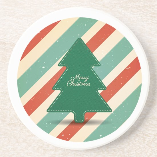 Sandstone Drink Coaster, Retro Christmas Design Sandstone Coaster