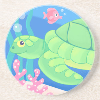 sandstone drink coasters - tropical sea turtle