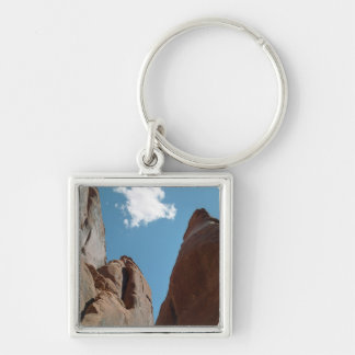 Sandstone Fins Close-Up Silver-Colored Square Keychain