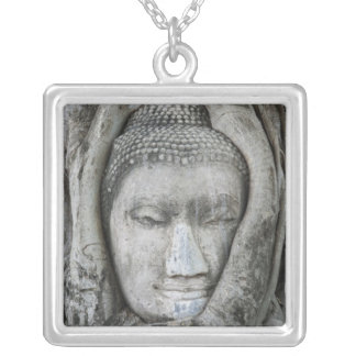Sandstone head of Buddha surrounded by tree Square Pendant Necklace