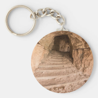 Sandstone Staircase In Abandoned Cave Dwelling Keychain