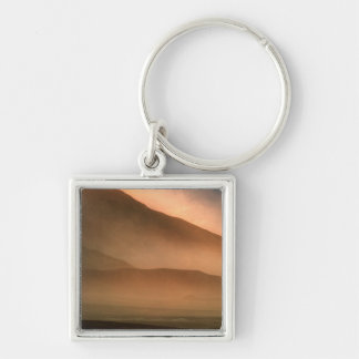 Sandstorm at Mesquite Sand Dunes, Sunset Silver-Colored Square Keychain