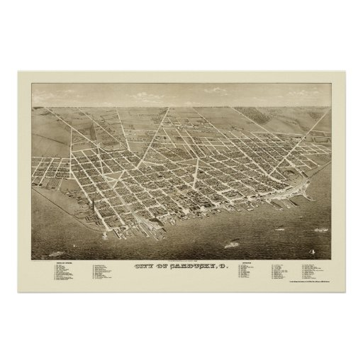 Sandusky, OH Panoramic Map - 1883 Poster