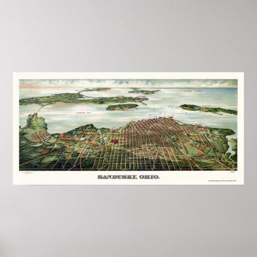 Sandusky, OH Panoramic Map - 1898 Poster