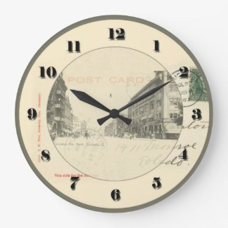Sandusky Ohio Post Card Clock - Columbus Ave 1906