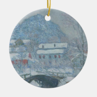 Sandviken Norway in the Snow Double-Sided Ceramic Round Christmas Ornament