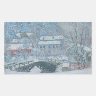 Sandviken Norway in the Snow Rectangular Sticker