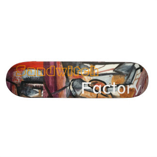 sandwhich and exploding bottles skateboard deck