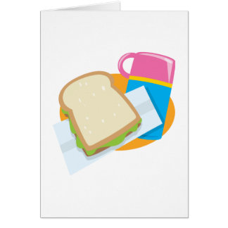 sandwich and thermos lunch vector design card