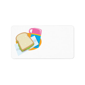 sandwich and thermos lunch vector design address label