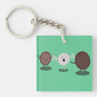 Sandwich Cookie Hugs Two tone keychain. Double-Sided Square Acrylic Keychain