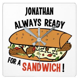 Sandwich custom name wall clock