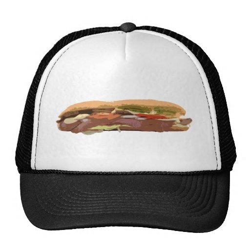 Sandwich Hoagie Baguette Food Meat Subway Sub Trucker Hat