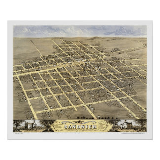 Sandwich, IL Panoramic Map - 1869 Poster