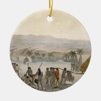 Sandwich Islands - a Westerner negotiating for sto Ceramic Ornament