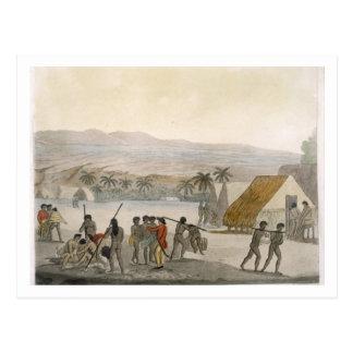 Sandwich Islands - a Westerner negotiating for sto Postcard