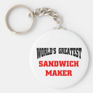 Sandwich maker basic round button keychain