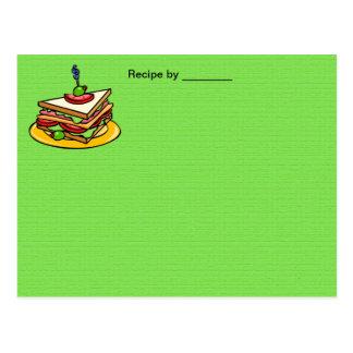 Sandwich Recipe Blank Card