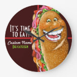Sandwich shop.Sub.Deli.Personalized 2 Round Wall Clocks