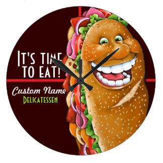 Sandwich shop.Sub.Deli.Personalized 2 Large Clock
