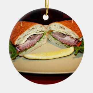 Sandwich Smile Double-Sided Ceramic Round Christmas Ornament