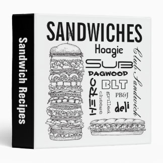 Sandwiche Recipes 3 Ring Binder