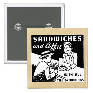 Sandwiches and Coffee at the Diner Button