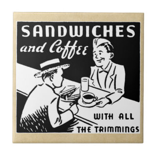 Sandwiches and Coffee at the Diner Ceramic Tile