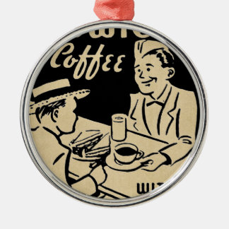 Sandwiches and Coffee Round Metal Christmas Ornament