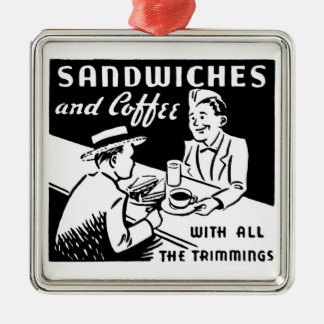 Sandwiches and Coffee Square Metal Christmas Ornament