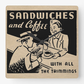 Sandwiches and Coffee Square Wall Clock