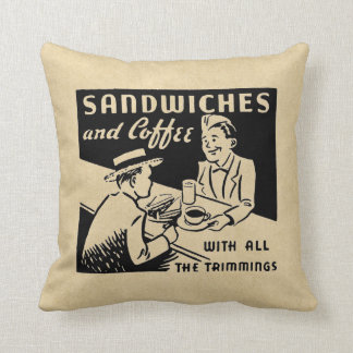Sandwiches and Coffee Throw Pillow