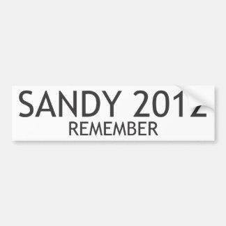 Sandy 2012 recuerda pegatina para auto