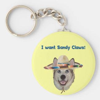 Sandy agarra el perro de la playa llavero redondo tipo pin
