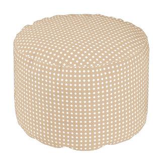 Sandy and White Polka Dot Pattern Pouf Seat