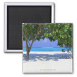 Sandy Beach 2 Inch Square Magnet