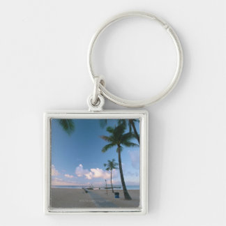 Sandy Beach 4 Silver-Colored Square Keychain