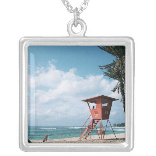 Sandy Beach 5 Square Pendant Necklace