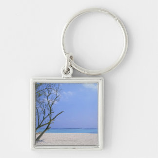 Sandy Beach 9 Silver-Colored Square Keychain