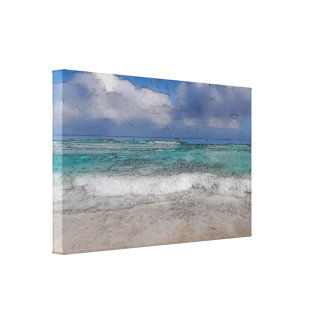 Sandy Beach and Clouds Wrapped Canvas Art Canvas Print