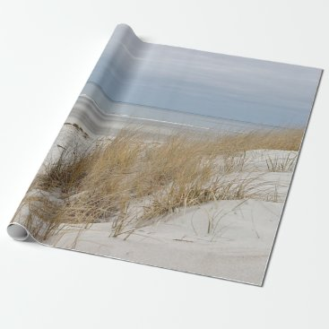 Sandy beach and dunes in winter wrapping paper