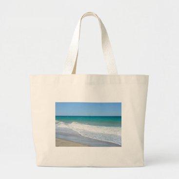 Beach Themed Sandy beach and Mediterranean sea Large Tote Bag
